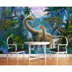 Papier peint panoramique spécial dinosaure - Les dinosaures dans la jungle