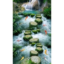 Revêtement de sol paysage trompe l'œil effet 3D - Pas japonais dans la rivière avec les poissons