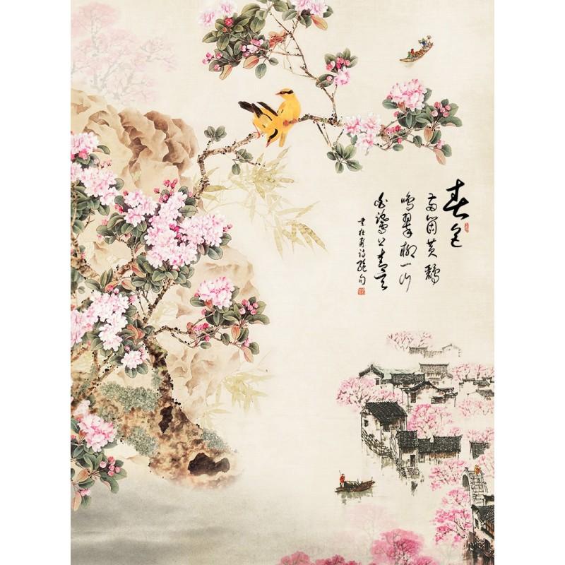 tapisserie num rique style asiatique format portrait paysage avec les fleurs de cerisier et les. Black Bedroom Furniture Sets. Home Design Ideas