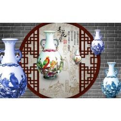 Papier peint asiatique trompe l'œil effet 3D - Les porcelaines chinoises anciennes