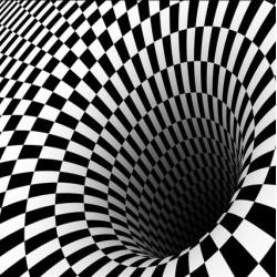 Revêtement de sol 3D abstrait en noir et blanc - Le tourbillon