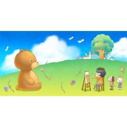 Papier peint chambre d'enfant - Petit peintre et nounours