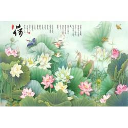 Peinture asiatique - Les lotus, les oiseaux et le poème