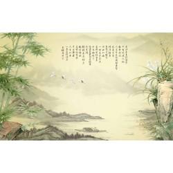 Paysage asiatique aspect ancien effet sépia - Les bambous et les orchidées sauvages