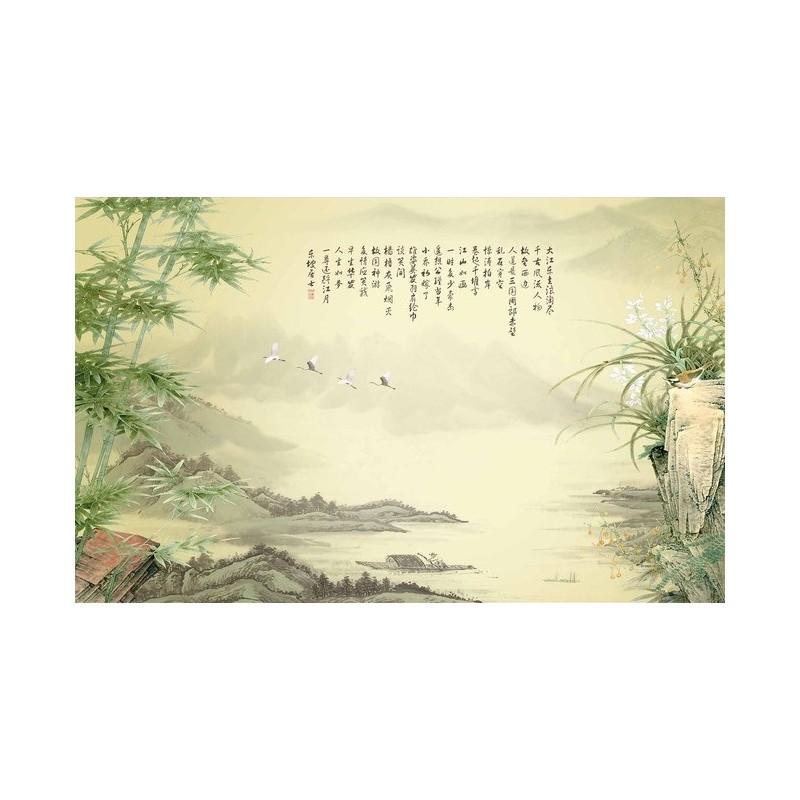 peinture asiatique ancienne papier peint d 39 artiste panoramique tapisserie paysage avec les. Black Bedroom Furniture Sets. Home Design Ideas