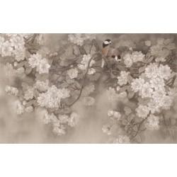 Papier peint tapisserie asiatique - Les fleurs de cerisier et les oiseaux fond gris