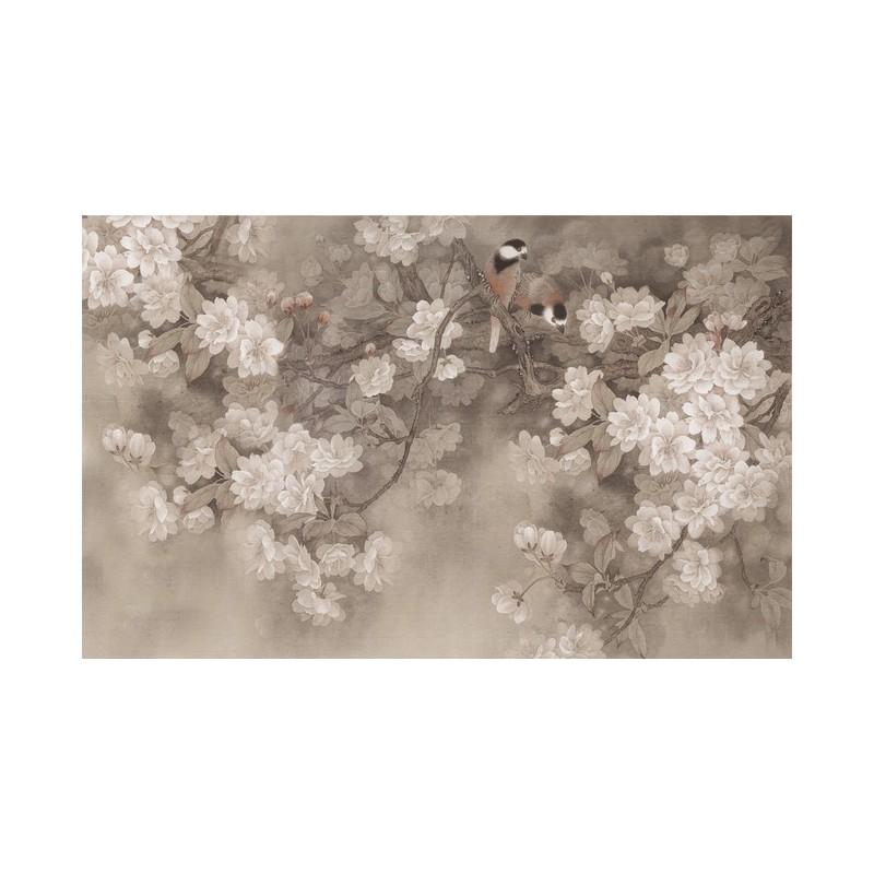 papier peint tapisserie asiatique les fleurs de cerisier et les oiseaux fond gris papier peint. Black Bedroom Furniture Sets. Home Design Ideas