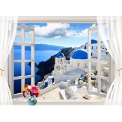 Trompe l'oeil 3D - Paysage depuis la fenêtre - La Grèce