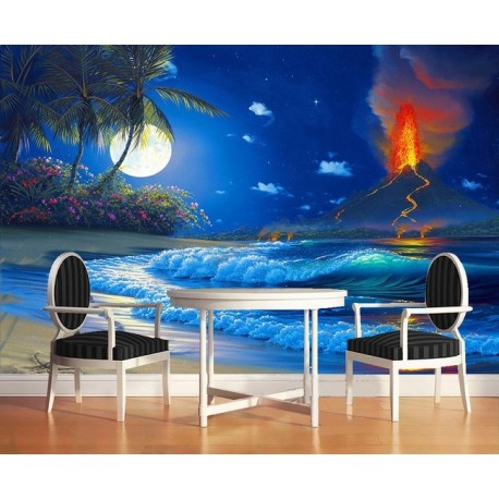 papier peint paysage fantaisie personnalis ruption du volcan la pleine lune au bord de la. Black Bedroom Furniture Sets. Home Design Ideas