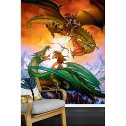 Papier peint fantaisie format portrait - La bataille des dragons