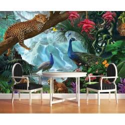 Tableau d'artiste - Les panthères et les paons dans la jungle tropicale