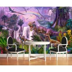 Papier peint tapisserie spécial dinosaure - Les dinosaures avec les libellules géantes dans la jungle