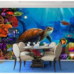 Paysage fond marin - La tortue géante