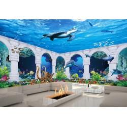 Paysage fond marin trompe l'œil 3D - Les dauphins, les coraux et la pieuvre géante