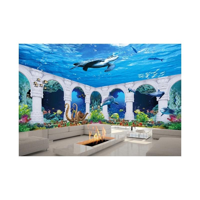 d cor grand format panoramique papier peint photo trompe l 39 il tapisserie 3d fond marin les. Black Bedroom Furniture Sets. Home Design Ideas