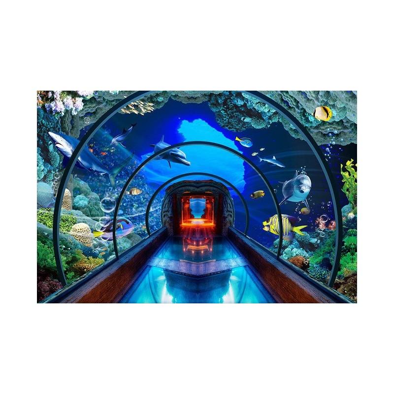 Extension d 39 espace papier peint photo trompe l 39 il 3d for Fond aquarium