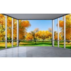 Revêtement mural décor trompe l'œil 3D extension d'espace - Paysage d'automne