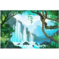 Dessin pour enfant - Chute d'eau dans la forêt tropicale