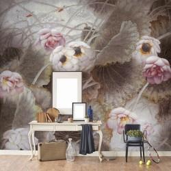 Peinture asiatique ancienne - Les lotus roses et les canards