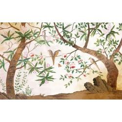 Peinture asiatique motif floral - Les fleurs et les oiseaux