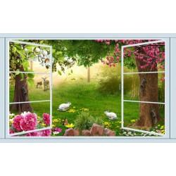 Extension d'espace - Papier peint photo paysage trompe l'œil effet 3D - Les animaux dans le jardin fleuri