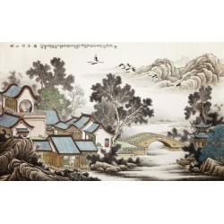 Peinture à l'encre de Chine - Maison dans la montagne