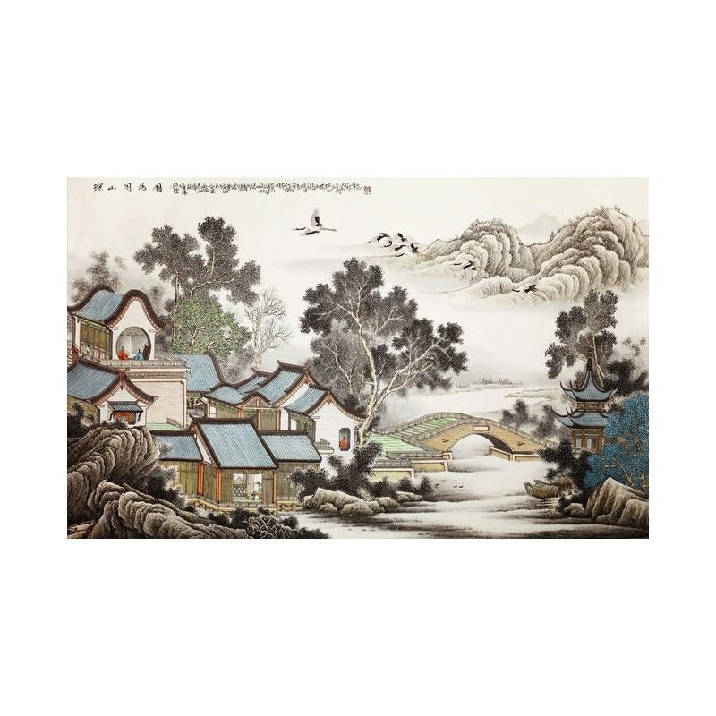 Papier peint photo personnals paysage asiatique tapisserie d 39 artiste maison dans la montagne - La maison de la peinture ...