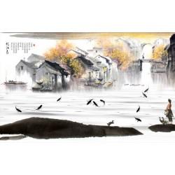 Peinture à l'encre de Chine - Paysage d'automne - Village flottant