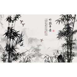 Peinture à l'encre de Chine en noir et blanc - Paysage avec les bambous et les orchidées sauvages