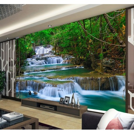 papier peint photo paysage personnalis chute d 39 eau dans la foret tropicale papier peint sol 3d. Black Bedroom Furniture Sets. Home Design Ideas