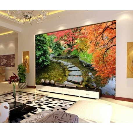 tapisserie zen papier peint photo paysage personnalis effet 3d jardin japonais. Black Bedroom Furniture Sets. Home Design Ideas