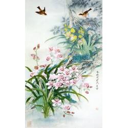 Papier peint asiatique - Les orchidées sauvages avec les oiseaux en printemps