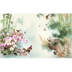 Papier peint asiatique - Les orchidées, les bambous et les oiseaux