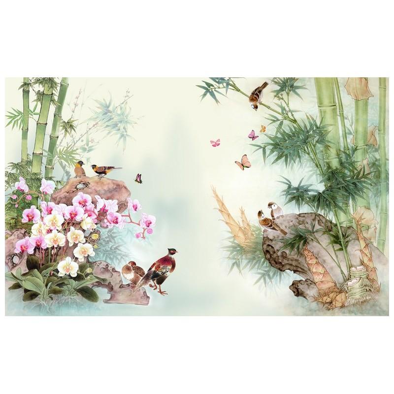 D coration murale asiatique les bambous les orchid es et for Papier peint motif chinois