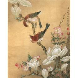 Peinture asiatique aspect ancien papier peint vintage - Les magnolias, le cerisier et les oiseaux