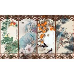 Paravent asiatique aux fleurs et aux oiseaux des 4 saisons