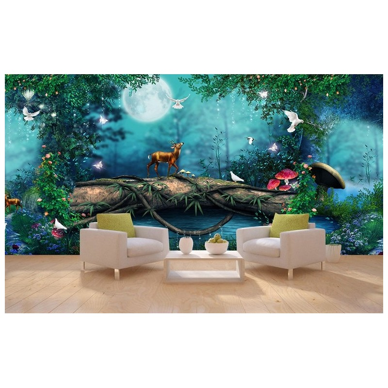 papier peint photo grand panoramique paysage romantique la nuit dans la for t. Black Bedroom Furniture Sets. Home Design Ideas