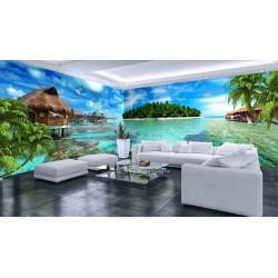 Décoration murale grand format panoramique paysage tropical - Maisons flottantes autour de l'île verte