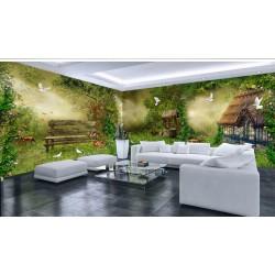 Décoration murale grand panoramique paysage fantaisie - Maison dans la forêt