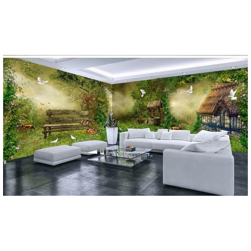 Décoration Murale Grand Panoramique Paysage Fantaisie   Maison Dans La Forêt