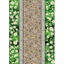 Revêtement de sol paysage nature - Chemin pavé de galets sur tapis de fleur