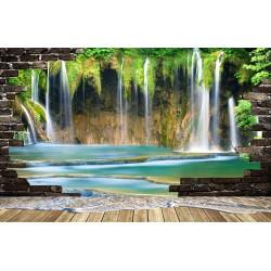 Extension d'espace - Papier peint photo paysage trompe l'œil effet 3D chute d'eau