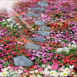 Revêtement sol trompe l'oeil 3D - Pas japonais dans le tapis de fleur