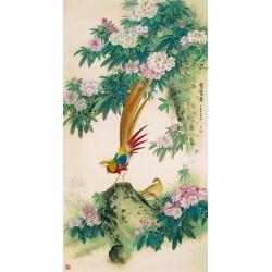 Papier peint asiatique format portrait - Le faisant et les fleurs