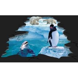 Decoration événementielle extérieure Revêtement sol trompe l'oeil 3D paysage glaciaire - Le pingouin, le dauphin et les ours