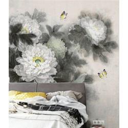 Peinture asiatique aspect ancien les pivoines et les papillons en noir et blanc