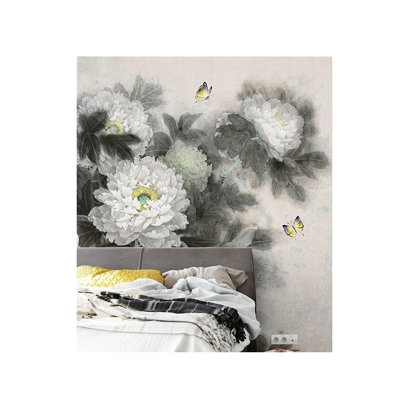 d cor noir et blanc papier peint chinois zen pivoine papillon papier peint sol 3d. Black Bedroom Furniture Sets. Home Design Ideas