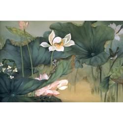 Peinture aquarelle zen - Les lotus et l'oiseau