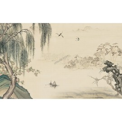 Tapisserie paysage asiatique aspect ancien - Le saule pleureur et le pêcher en printemps