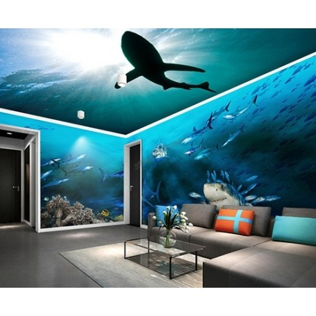 papier peint photo personnalis xxl panoramique tapisserie paysage fond marin les requins. Black Bedroom Furniture Sets. Home Design Ideas